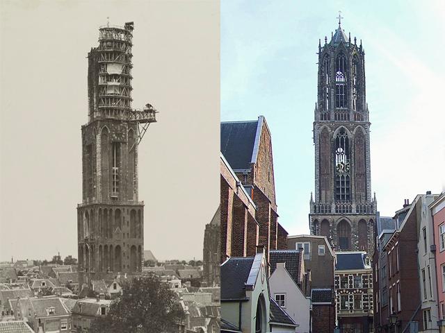 Домский собор в Утрехте знаменит еще и тем, что все время попадал под сильные удары стихии. Самый значительный урон  храму причинил ураган 1836 года. Повреждения были столь велики, что башню хотели снести, но позже все-таки реконструировали.